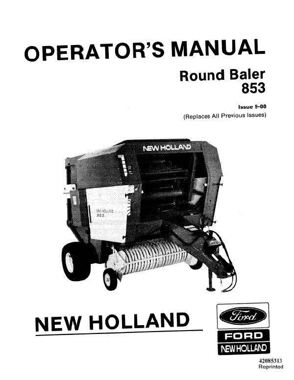 New Holland 853 Round Baler Manual