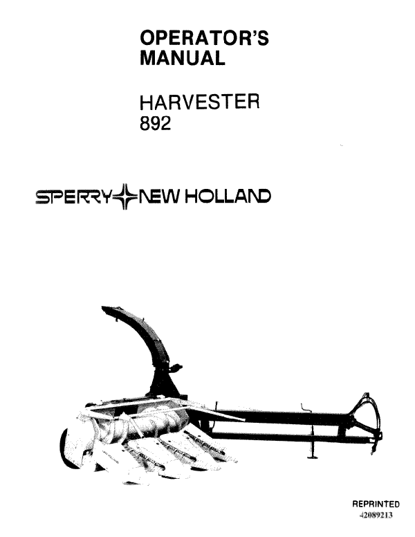 New Holland 892 Forage Harvester Manual