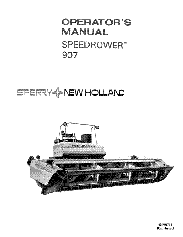 New Holland 907 Speedrower Manual