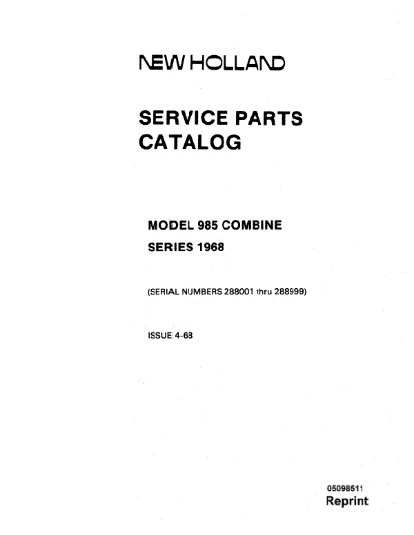 New Holland 985 Combine - Parts Catalog