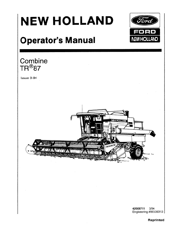 New Holland TR87 Combine Manual
