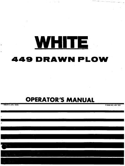 New Idea 448 and 449 Plow Manual