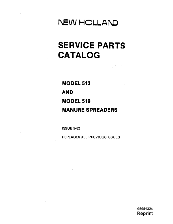 New Holland 513 and 519 Manure Spreader - Parts Catalog