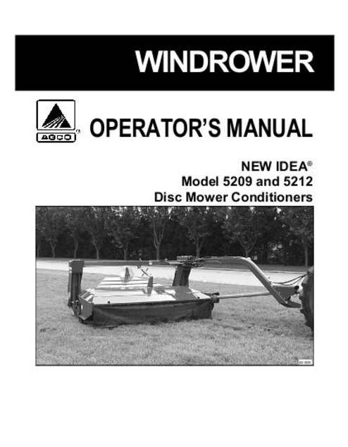 New Idea 5209 and 5212 Mower Conditioner Manual