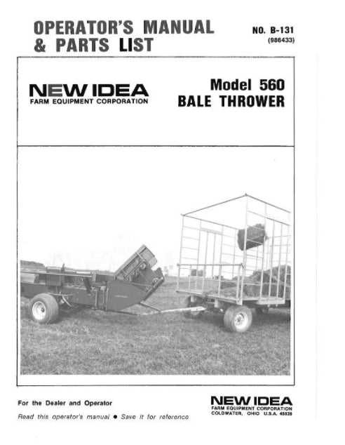 New Idea 560 Bale Thrower Manual