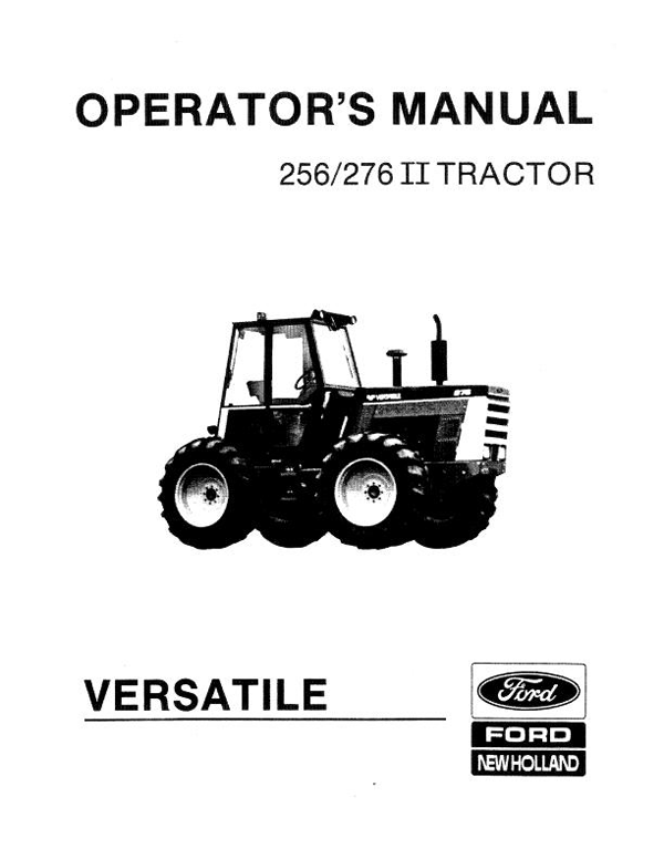 Versatile 256 and 276 II Tractor Manual