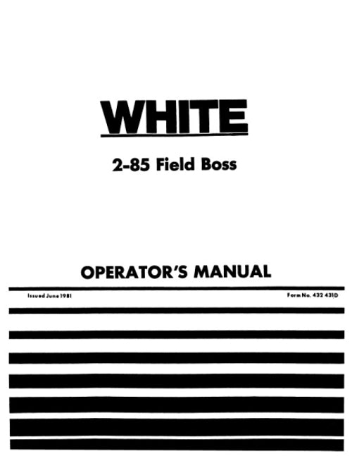 White 2-85 Tractor Manual
