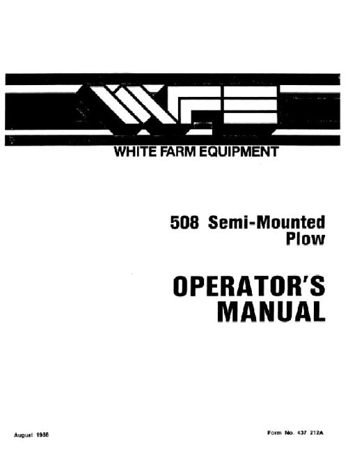 White 508 Plow Manual