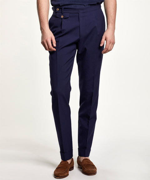 Jason Seersucker Suit Trouser Marine