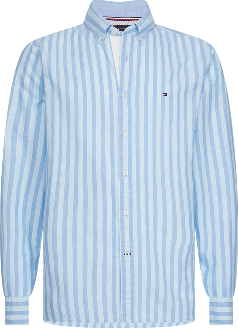 Cotton linen multi stripe shirt Lyseblå