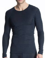Men Shirt Long Sleeve Mørk Blå Melert