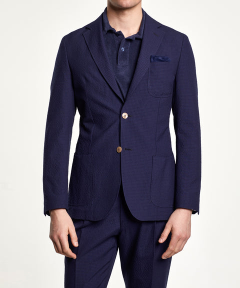 Mike Seersucker Suit Jacket Marine