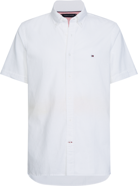 Slim cotton linen shirt s/s Hvit