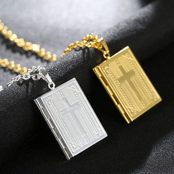 Read the Bible Cross Locket Necklace With Memory Photo