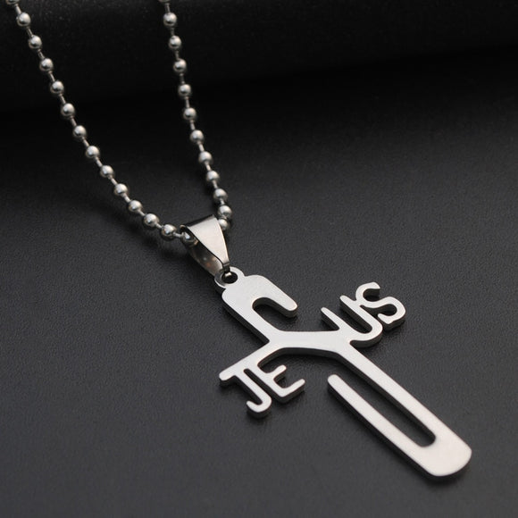 In Jesus Name Cross Steel Necklace