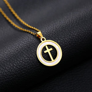 SONYA Latin Cross necklace stainless steel Jewelry Gold/steel Color Acrylic Round Men/Women Gift Christian Jewelry Bijoux Femme