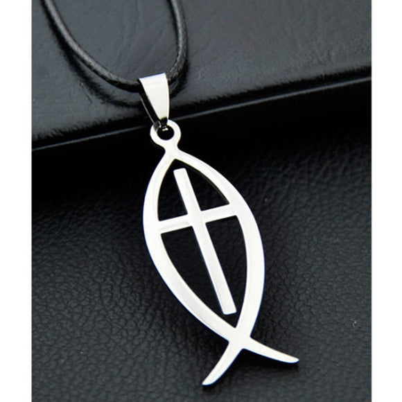 Christian Fish Cross Pendant Stainless Steel Necklace