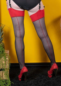 Legs in red topped retro stockings with a red seam, seen from the back with the red seam running up the black stockings.