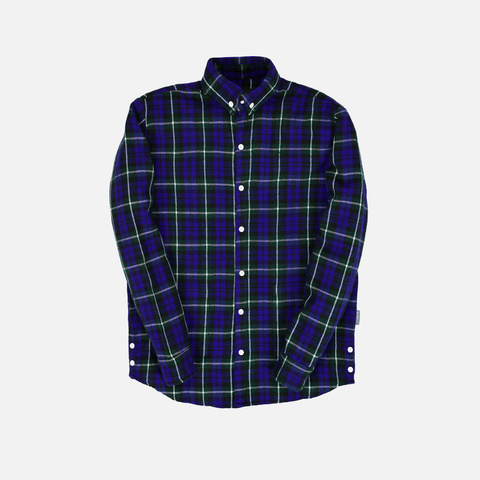 WOOL PLAID FLANNEL - BLUE DOUGLAS