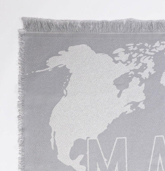 WORLD CITIZEN THROW BLANKET - LIGHT GREY
