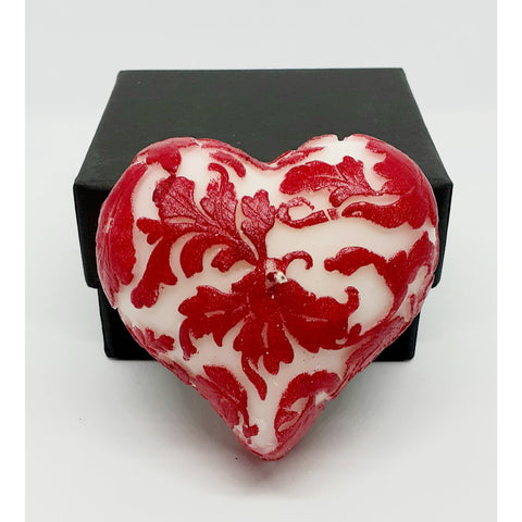Damask Leaf Love Heart Candle