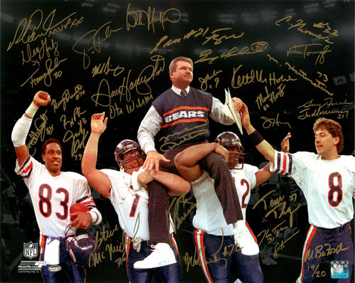 1985 Chicago Bears Team Signed 16x20 Super Bowl XX Victory Photo With 31 Signatures Including Dent, Hampton, & Singletary