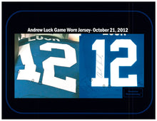 Load image into Gallery viewer, 2012 Andrew Luck Rookie Year Game Used & Signed Indianapolis Colts Home Jersey Photo Matched To 3 Games