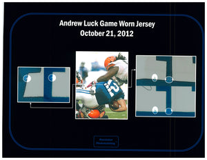 2012 Andrew Luck Rookie Year Game Used & Signed Indianapolis Colts Home Jersey Photo Matched To 3 Games