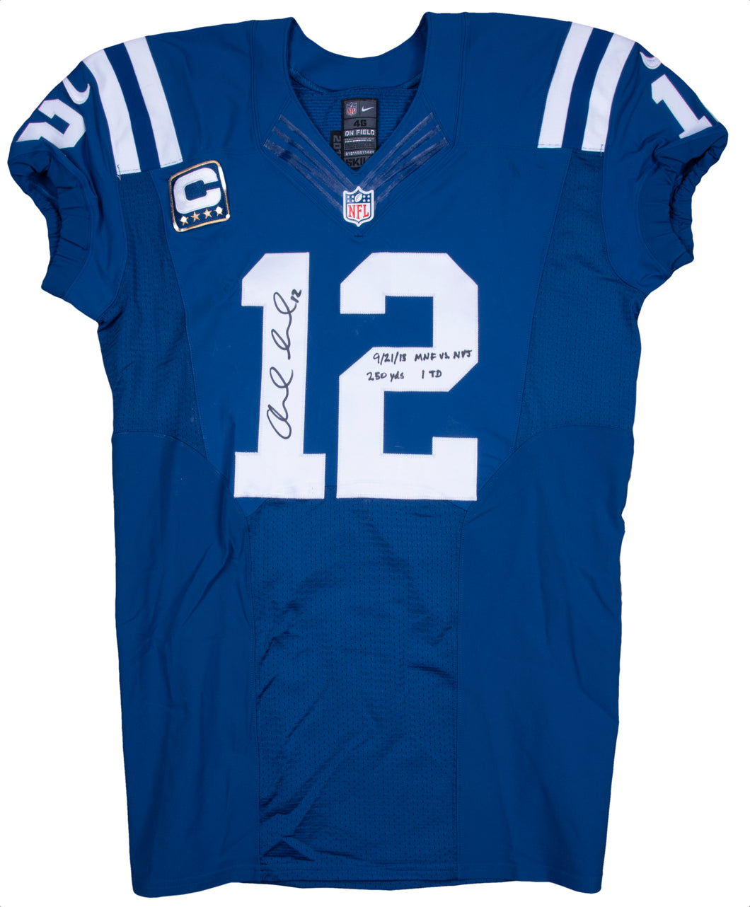 2015 Andrew Luck Game Used & Signed Indianapolis Colts Home Jersey Photo Matched To 9/21/2015