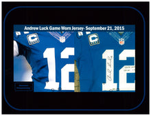 Load image into Gallery viewer, 2015 Andrew Luck Game Used & Signed Indianapolis Colts Home Jersey Photo Matched To 9/21/2015