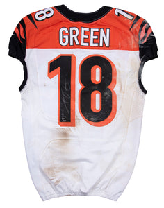 2015 AJ Green Game Used & Signed Cincinnati Bengals Road Jersey Photo Matched To 12/28/2015