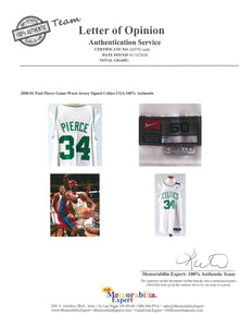 "2000-2001 Paul Pierce Game Used and Signed Boston Celtics Home Jersey with Dorothy ""Dot"" Auerbach Memorial Band"