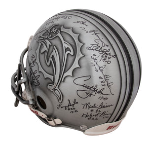 Miami Dolphins Legends and Greats Multi-signed Authentic Pewter Helmet with 17 Signatures Including Marino, Griese, Csonka and more