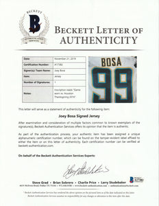 2016 Joey Bosa Game Used, Signed & Inscribed San Diego Chargers Rookie Jersey Used on November 27, 2016 - Defensive Rookie of the Year!