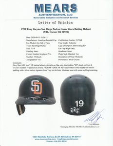 1998 Tony Gwynn Game Used & Signed San Diego Padres Batting Helmet Used For Career Hit #2926