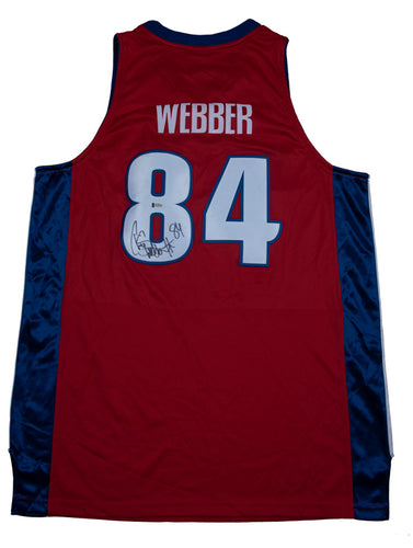Chris Webber Signed Detroit Pistons Red Alternate Jersey