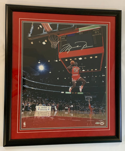 Micheal Jordan Autographed 18x24 Slam Dunk Contest Framed Photograph