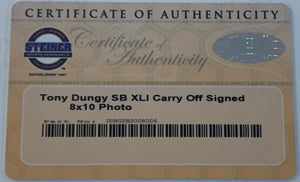 Tony Dungy Autographed Super Bowl XLI Carry Off 8x10 Photograph