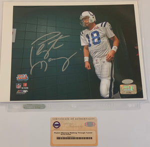 Peyton Manning Autographed Walking Through Tunnel 8x10 Photograph
