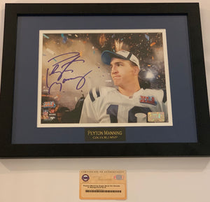 Peyton Manning Autographed Super Bowl XLI Smoke in Background 8x10 Framed Photograph