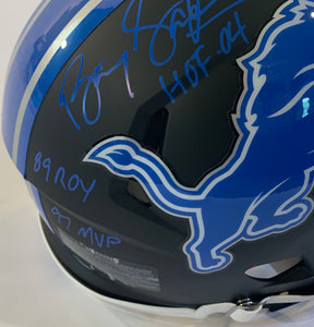 Barry Sanders Autographed Authentic Helmet with 7 Inscriptions