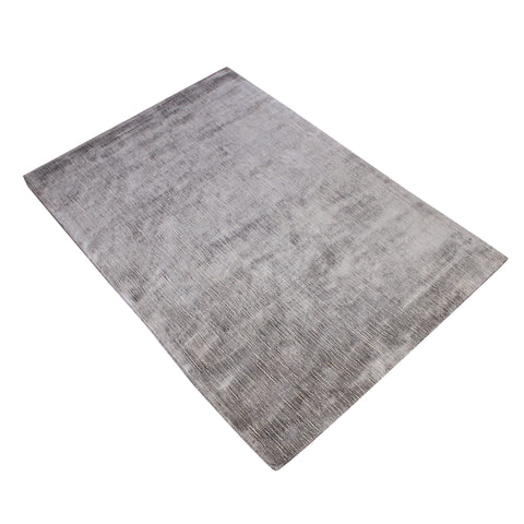 GREY PLAIN VERTICAL LINE DESIGN FLOWING RIVER HAND TUFTED RUG