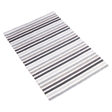 BLUE GREY BLACK HORIZONTAL STRIPES HAND TUFTED RUG