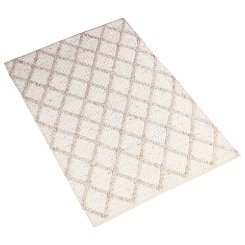 BEIGE BROWN GEOMETRIC DURRIE RUG
