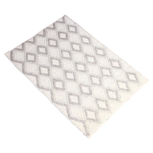 BLUE GREY GEOMETRIC DURRIE RUG