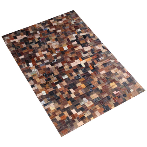 BROWN BRAIDED RECYCLE HAND WOVEN RUG