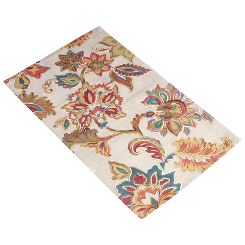 BEIGE MULTI COLOR FLORAL JQUARD HAND WOVEN RUG