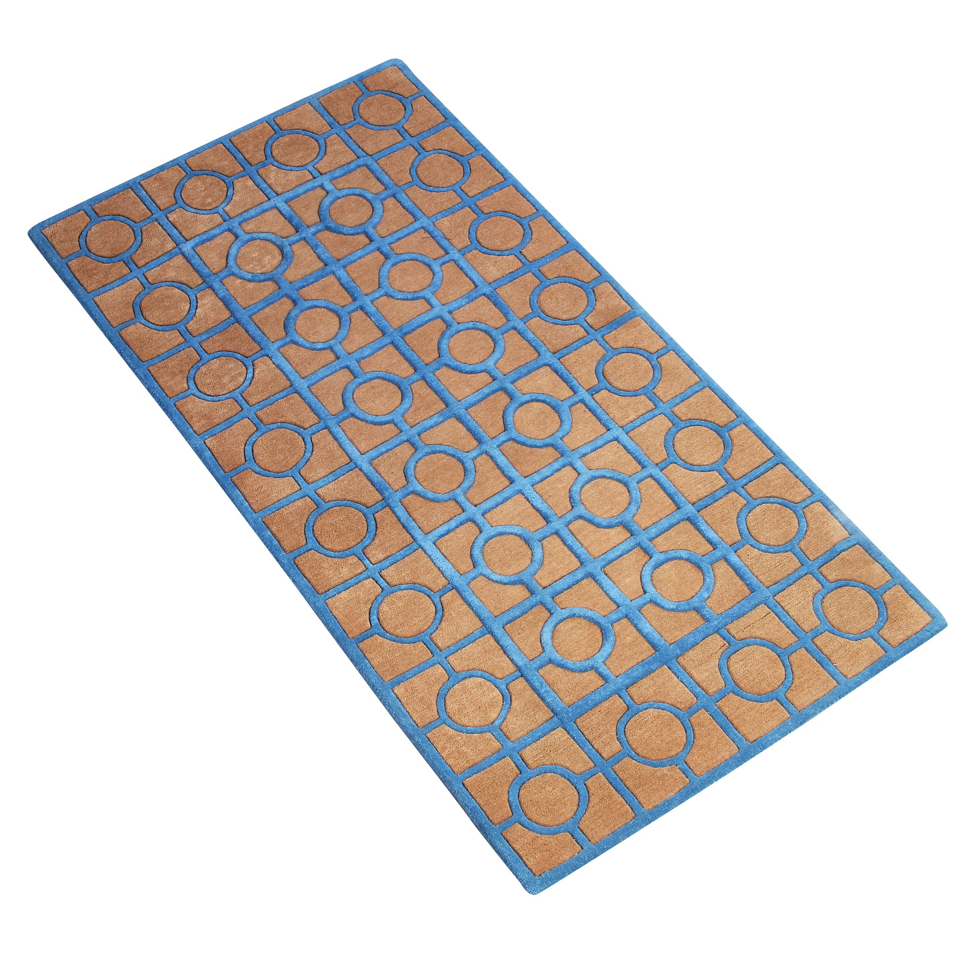 BROWN BLUE GEOMETRIC  HAND TUFTED RUG