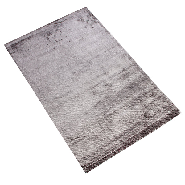 GREY SOLID SILK HAND TUFTED RUG