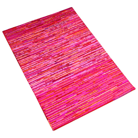 PINK MULTI COLOR HORIZONTAL STRIPS HAND TUFTED RUG